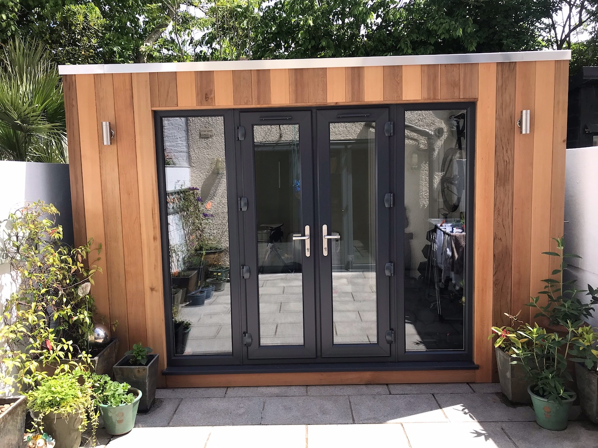 contemporary garden room with cubed roof