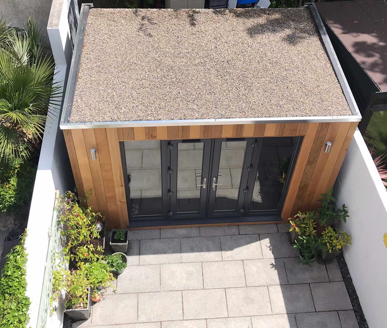 Cubed studio with shingle finish from above.