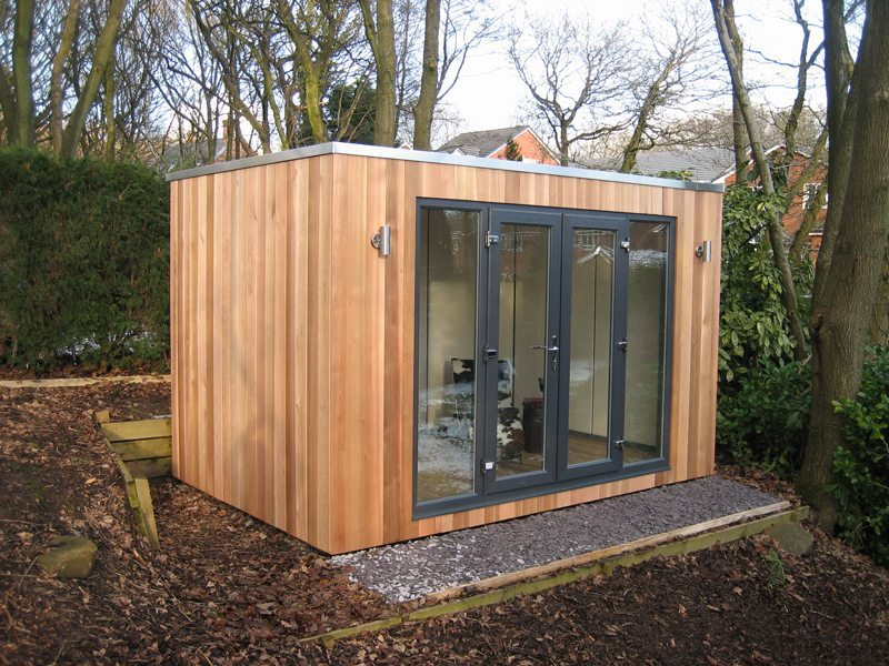Cubed studio with French doors
