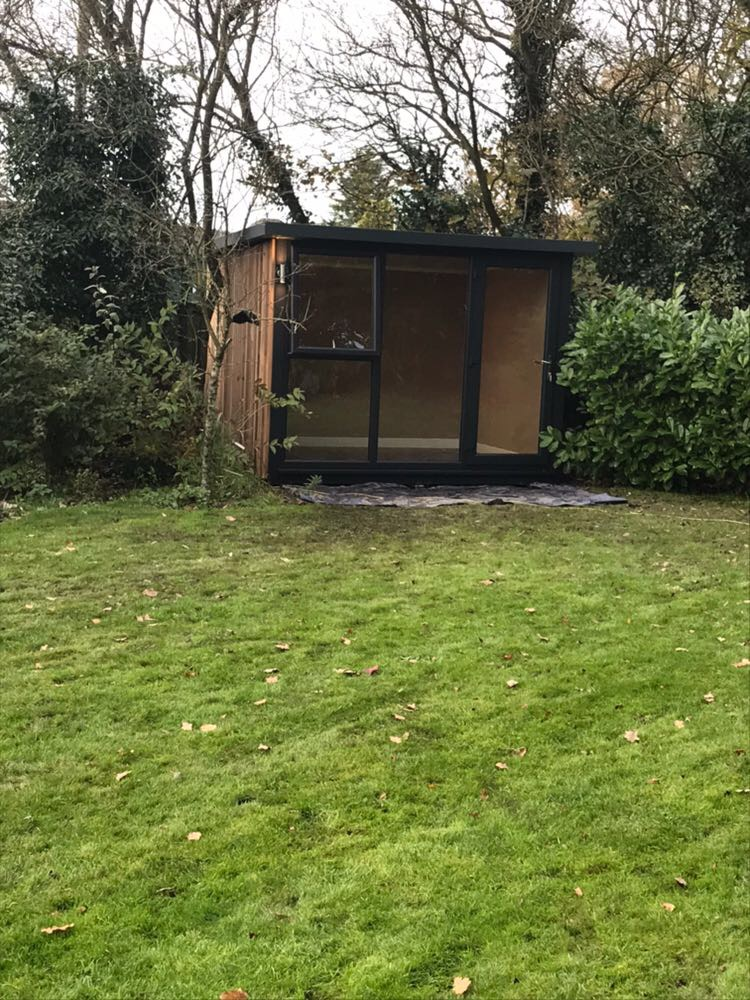 3m x 2.4m Hampton Grey Studio with Western Red Cedar to left side and opening window
